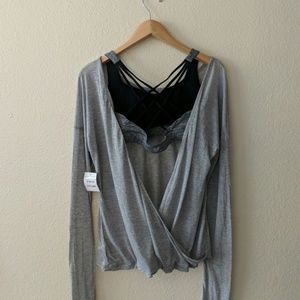 Open back Nordstrom grey long sleeve